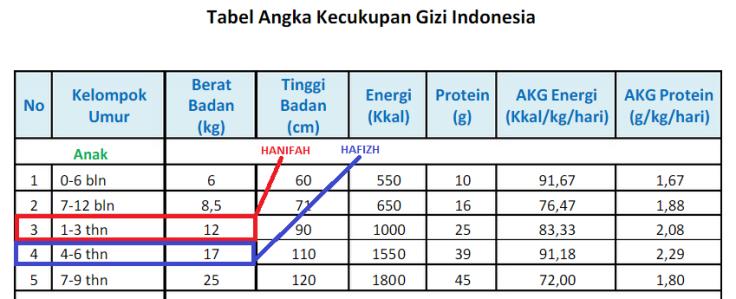 Tabel Angka Kecukupan Gizi Anak (pic source : here)